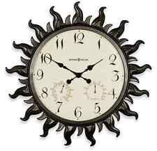 Metal Sun Wall Clock Modern Home Art Decor Large Indoor Outdoor Humidity & Temp