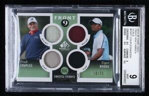 2014 SP Game Used Edition 10/25 Tiger Woods Fred Couples Dual Relic BGS 9 MINT