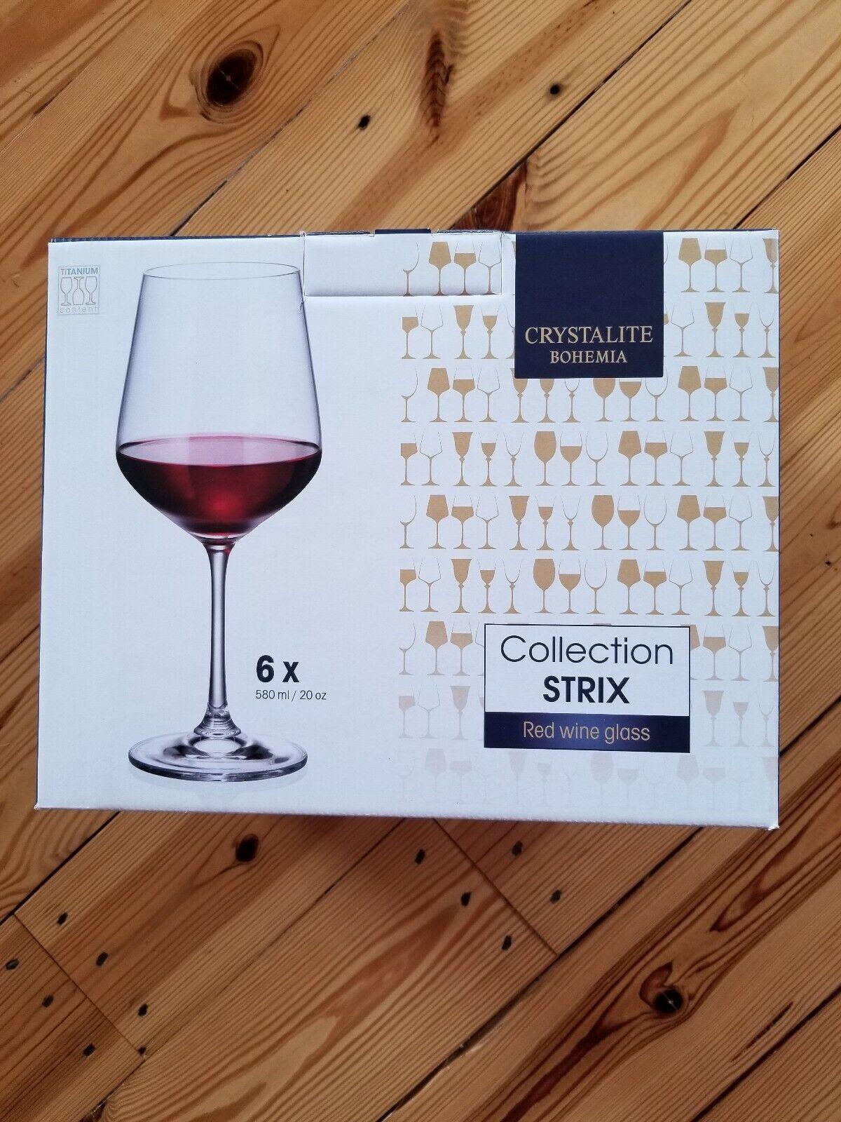 Bohemia Crystalite Strix 6 Vin Rouge Lunettes
