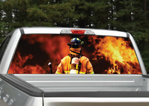 Truck Back Window Decals >> Details About Firefighter Flames Fire Rear Window Decal Graphic For Truck Suv