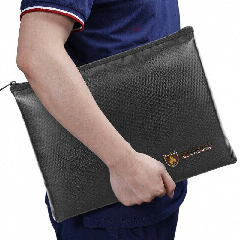 Double Sided Fireproof Waterproof Money Bag Fire Safe Cash Pouch Document Case