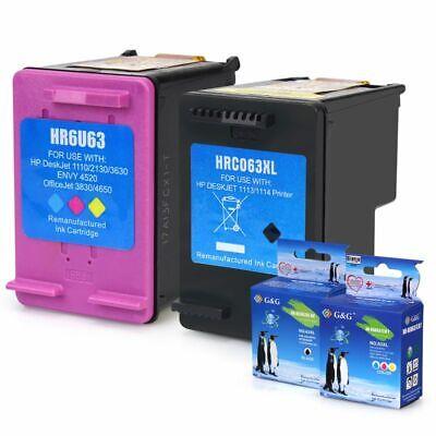 2 Pack 63 XL Color Ink Cartridge for HP Officejet 3830 3832 4650 Envy 4512 4520