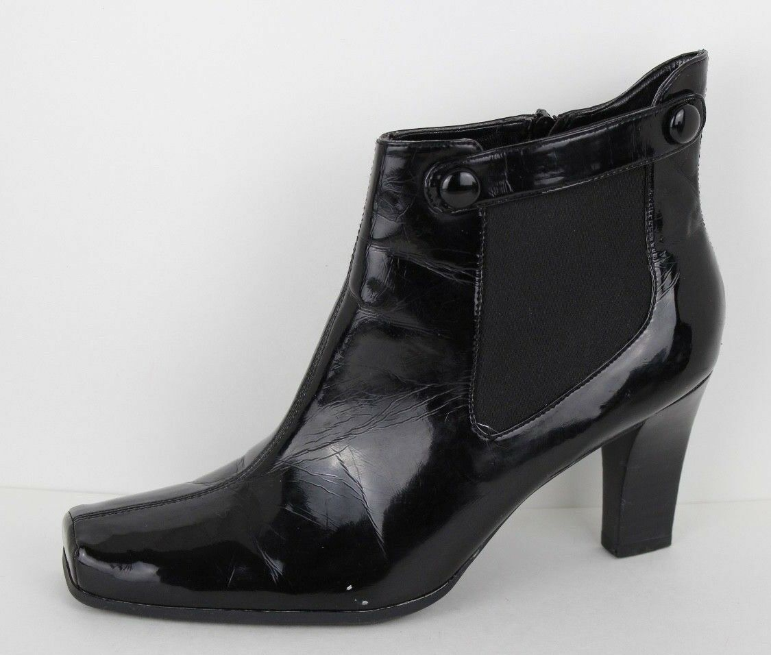 Franco Sarto Cleo women's black square toe high heel ankle boots size 8.5 M