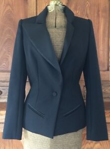 Jacket Jarrar Lapel Black Us Bouchra Blazer 10 Wool Uk 38 Asymmetrical Eu Euc 6 UXdwUAq