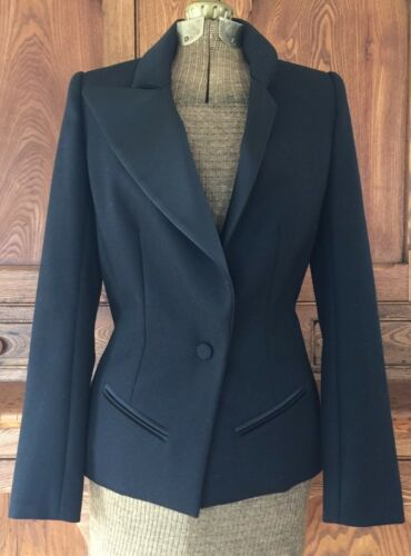 Euc Eu Wool Jacket 10 Asymmetrical Lapel 6 38 Blazer Jarrar Uk Us Bouchra Black BSwS0O