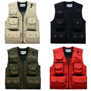 7764fa72abc Men s Utility Multi Pocket Sleeveless Jacket Coat Military Tactical ...