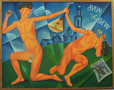 """Russian Symbolism """" Game Boys"""" oil painting signed Zaykov dated 1990"""