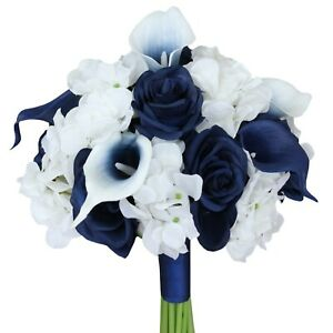 9-034-Beautiful-Hand-Tied-Wedding-Bouquet-Hydrangea-Calla-Lily-Roses-Pick-Color