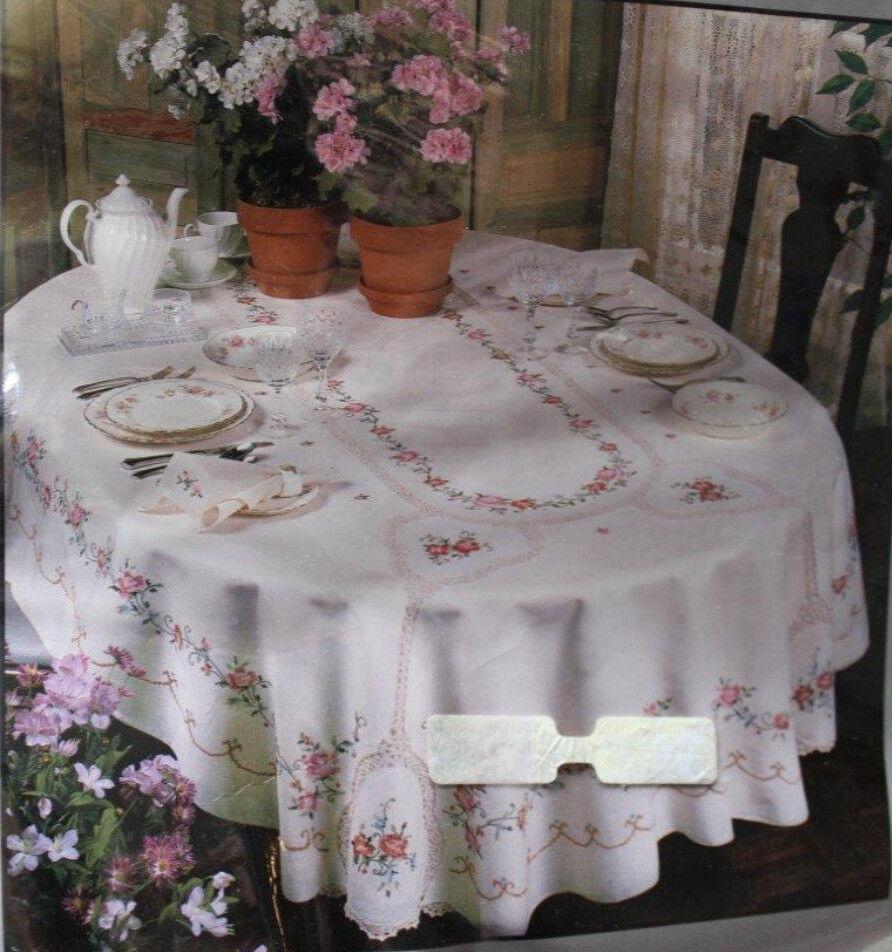 Vintage Floral Lace Table Nappe ovale 68x104 100% Coton Serviette Set brodé