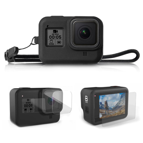 GoPro HERO 8 Silicone Case Shockproof Skin Rubber Cover + Glass Lens Protector