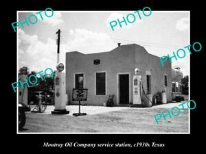 OLD-8x6-HISTORIC-PHOTO-OF-MOUTRAY-OIL-COMPANY-SERVICE-STATION-c1930s-TEXAS