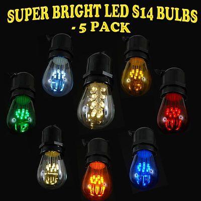 5 Pack S14 LED Edison Medium Base Outdoor Patio Globe Shape Replacement Bulbs