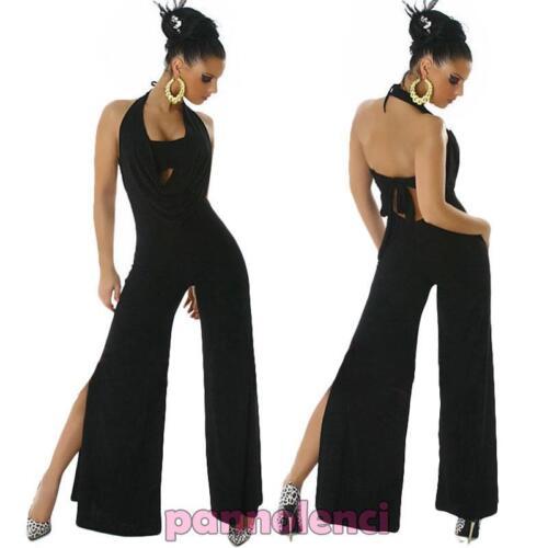 Overall tuta intera donna abito spacco jumpsuit nude look disco gogo LI-9516