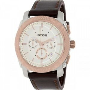 Fossil-Men-039-s-Machine-Silver-Dial-Leather-Strap-Chronograph-Watch-FS5040