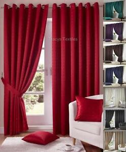 1-PAIR-MADISON-FULLY-LINED-RING-TOP-EYELET-CURTAINS-FREE-Tiebacks-Many-Colours