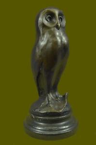 Bronze-Marble-Base-Owl-Bird-Sculpture-Statue-Figure-Art-Deco-Hot-Cast-Home-Decor