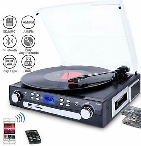 Bluetooth Record Player Turntable with Speakers Stereo LP Vi