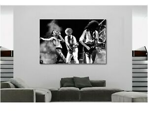 QUEEN-Rock-Band-Live-Black-and-White-Canvas-Wall-Art-Print-Various-Sizes