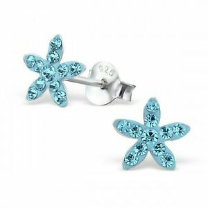 Childrens-Girls-925-Sterling-Silver-Aqua-Star-Crystal-Stud-Earrings-Boxed