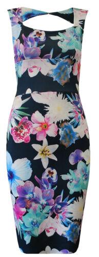 Ladies Floral Keyhole Midi Cross Back Dress Slit Midi Bodycon