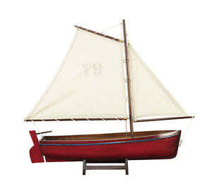 Authentic-Models-Gaff-Rigged-Wooden-Sailing-Boat-Yacht-Model-Red-45cm