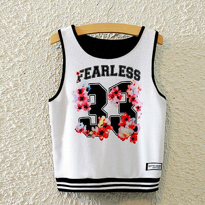 New Fashion Women Sleeveless No 33 Print T Shirt Sports Vest Tank Cropped Tops