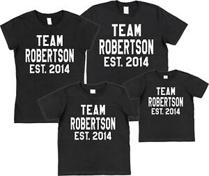 245d987b Personalised Team Name & Year T-Shirt Mum Dad Kids Family Surname ...
