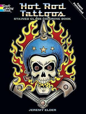 ADULT COLORING BOOK ~ HOT ROD TATTOOS STAINED GLASS REMOVEABLE  FRAMABLE PAGES