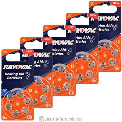 """30x Rayovac ACOUSTIC SPECIAL  Hörgeräte-Batterie ZA13 V13 orange"
