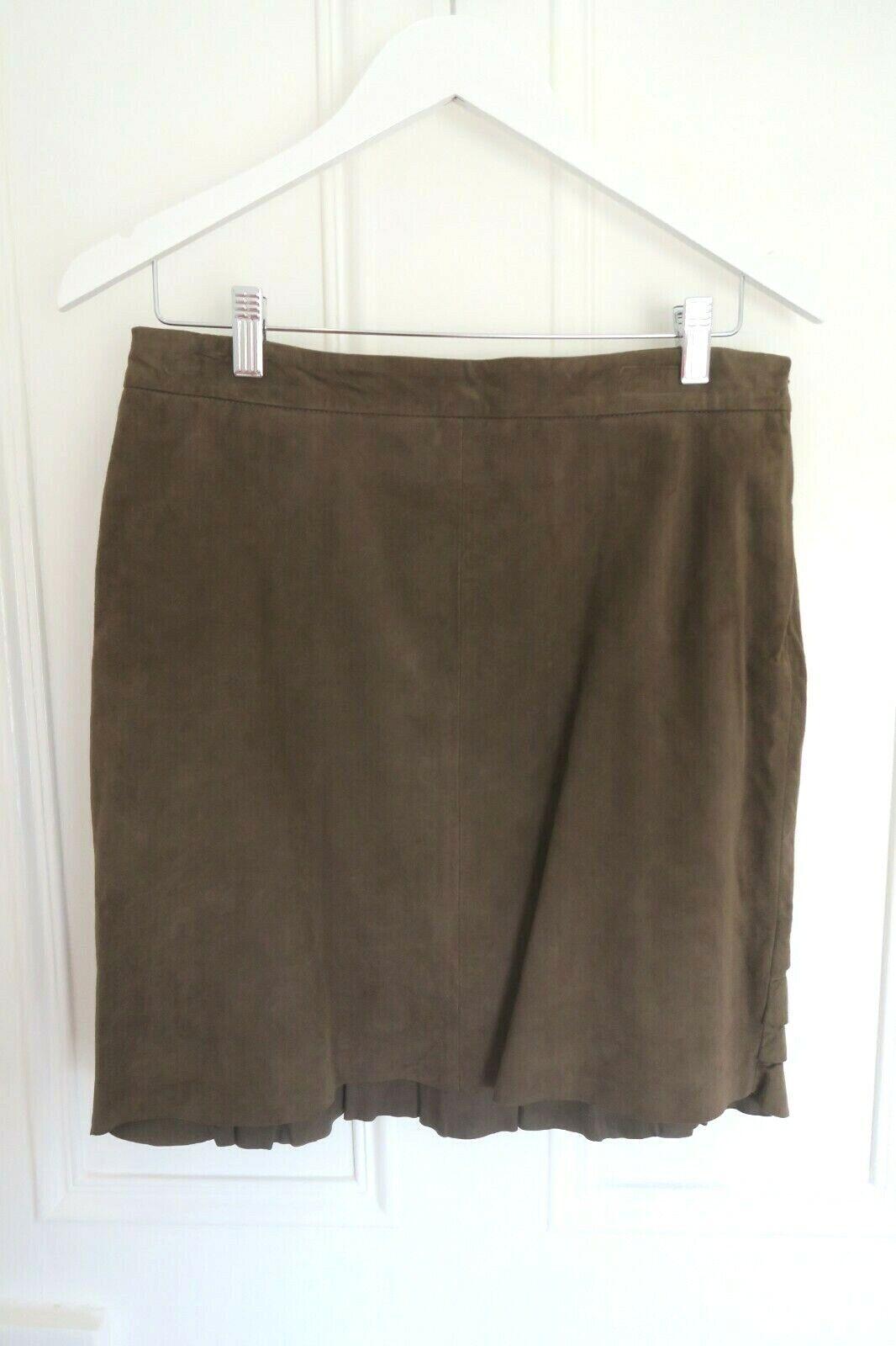 JIGSAW kjol, bspringaa mocka med ruffel, 100% läder, fodrad, 12, BNWT, ex con