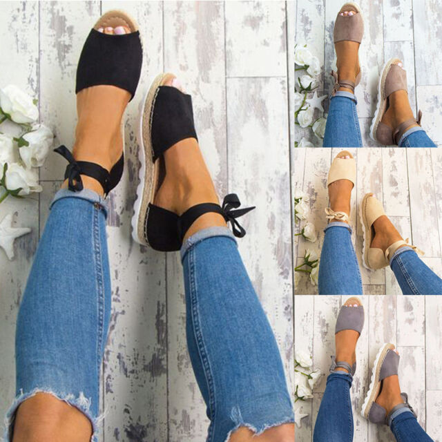 Womens Flat Low Wedge Heels Espadrille Summer Ladies Sandals Peep Toe Shoes Size