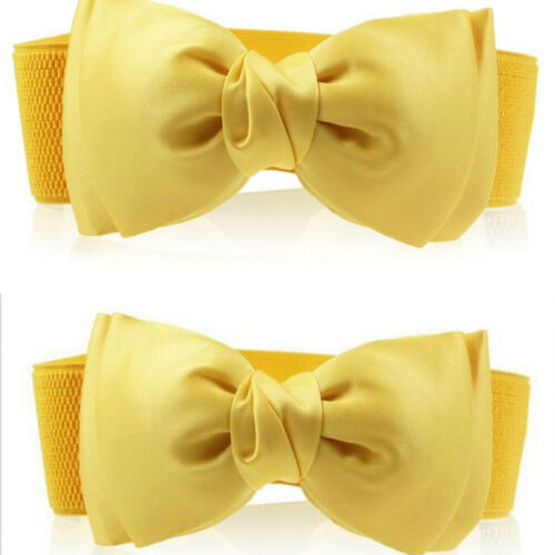 Women/'s Elastic Wide Stretch Comfortable Buckle Bowknot Bow Waist Belt Tie Decor