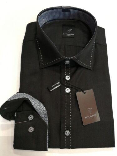 MILANO ITALY CAMICIA MANICA LUNGA Kent colletto nero taglia L 42 Modern Fit CUCITURA CONTRASTO