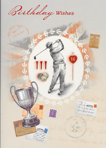 Image Is Loading HAPPY BIRTHDAY CARD TOP QUALITY MALE VINTAGE GOLF