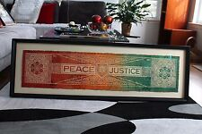 Shepard Fairey + RISK 'Peace & Justice' HPM Mixed Media xx/40 Framed! LOOK!