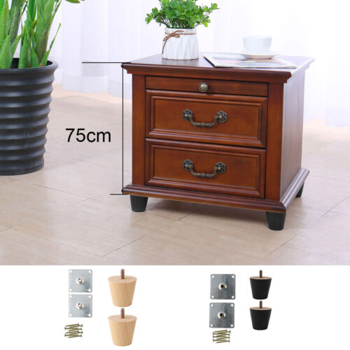 "2/"" Round Solid Wood Furniture Leg M8 x 0.71 Inch Bolt Chair Cabinet Feet"