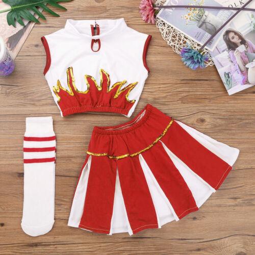Child Cheerleader Uniform School Girl Fancy Dress Costume Outfit Top+Skirt+Socks