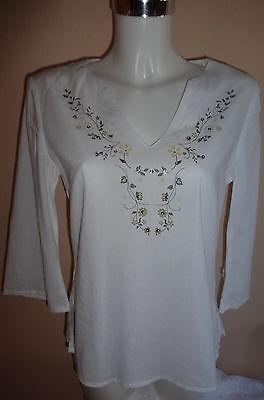 Damen Batist Tunika mit Blumen Print & Pailletten 36 Bluse weiß Flower Shirt