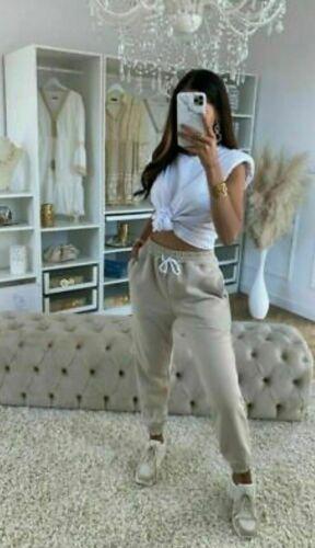 Mujer señoras de la alta cintura con manguito inferior Jogging Chándal Activo Gimnasio Pantalones Pantalones