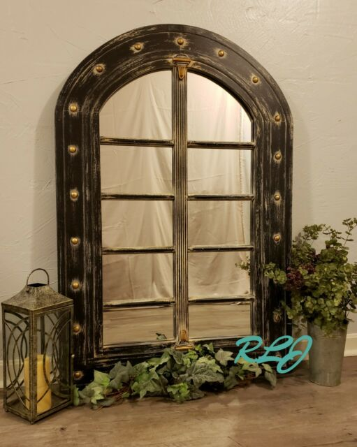 Distressed Rustic Old World Arched Windowpane Wood Mirror Vintage Wall Art Decor For Sale Online