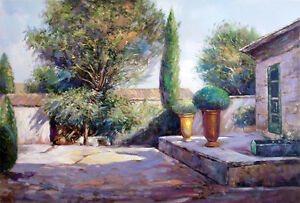 FRANCE-PROVENCE-Paris-Cafe-Chateau-Wine-Vineyard-Tuscany-Italy-Art-Oil-Painting