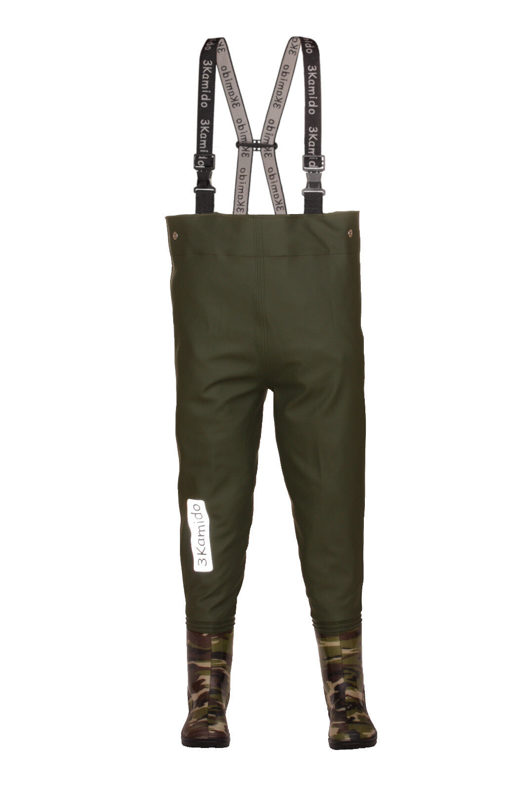 Kids Chest Waders 3KAMIDO , Junior Mgold - CAMOUFLAGE   DARK GREEN