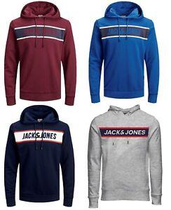 Mens-New-Jack-amp-Jones-Pullover-Sweatshirt-Hooded-Top-Grey-Blue-Black-Burgundy