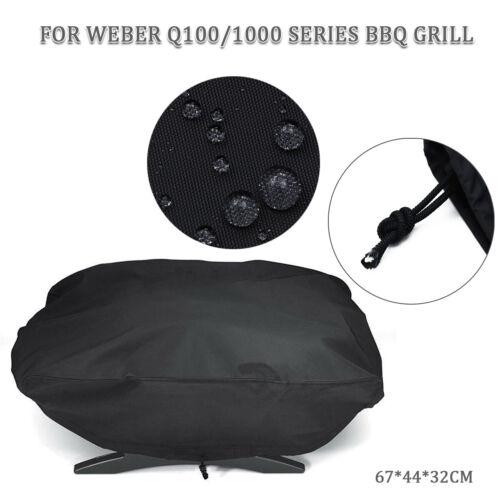 BBQ Grill Abdeckung für Weber 7110 Q100 Serie Wasserfest Staubfrei Schwarz