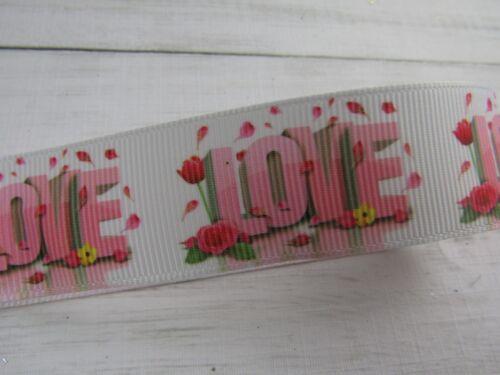 "HEART LOVE VALENTINES  GROSGRAIN RIBBON 1 2 3 METRE BOWS CAKES  1/"" 25 MM CHOICE"
