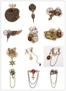 Unisex-Retro-Steampunk-Bronze-Brooches-Lapel-Pin-Vintage-Gear-Bowknot-Breastpin