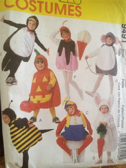 Sewing Pattern No 9491 McCalls Kids Costumes Bunny Pumpkin Mouse Size 3-4 UC