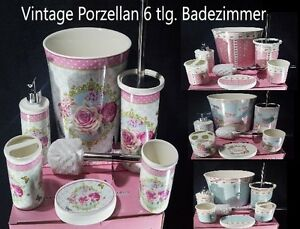 vintage porzellan 6 tlg badezimmer set bad accessoire set wc set neu ebay. Black Bedroom Furniture Sets. Home Design Ideas