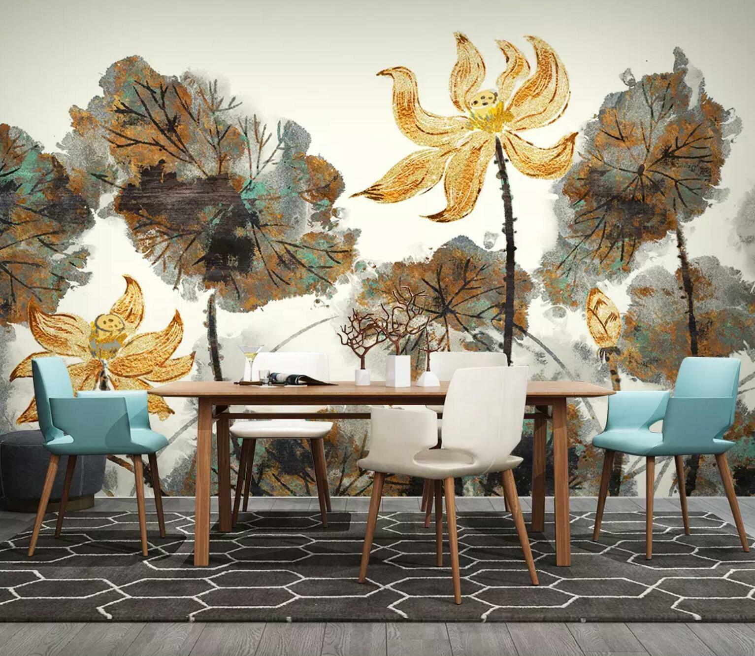 3D golden Lotus 341 Wall Paper Exclusive MXY Wallpaper Mural Decal Indoor wall