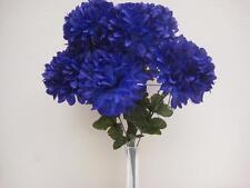 """DARK BLUE Chrysanthemum Ball Bush 10 Artificial Silk Flowers 19"""" Bouquet 302NBL"""